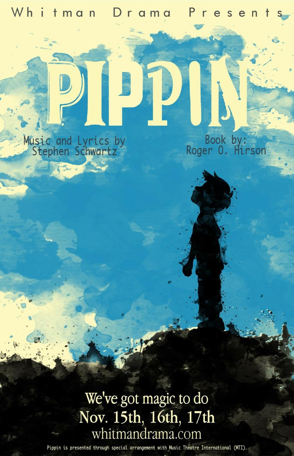 Each Whitman Drama play and musical has an artwork designed to advertise the production. During Teach Week, the publicity team distributes flyers and postcards with the artwork. Pippin artwork designed by Kevin Hatcher ('18).