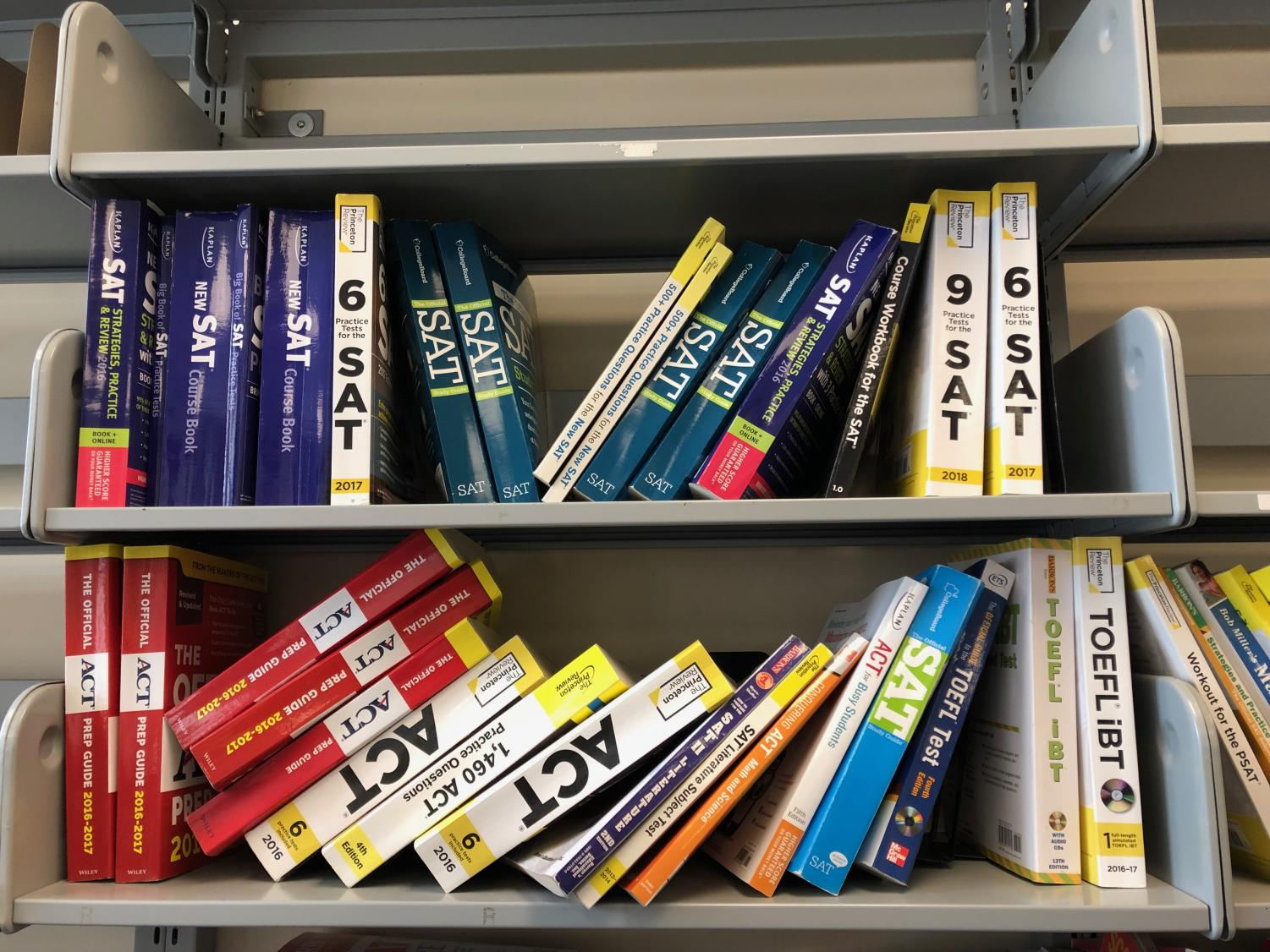 Test prep books sit on a shelf in the CIC. The ACT now allows students to retake individual sections of the test.