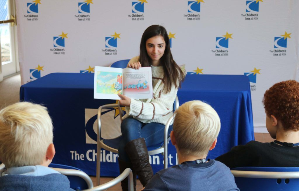 "Senior Amanda Sherman  read to Children's Inn patients. Sherman published ""Zilly the Therapy Dog,"" a picture book about the therapy dog at the Children's Inn at NIH who helps comfort the kids."