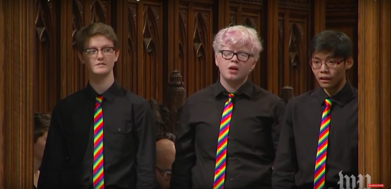 Sophomore Brennan Connell (right) sings at the interment of Matthew Shepard's ashes at the National Cathedral Oct. 26. Connell sang as a part of GenOUT Youth Chorus.