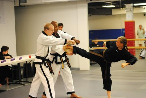 Just for kicks: students participate in taekwondo