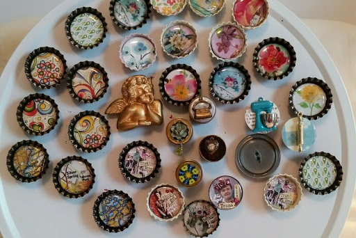 English teacher Wendy Muldawer made this plate full of bottle-cap trinkets. Muldawer assembles gifts out of items she finds in flea markets and other thrift stores.