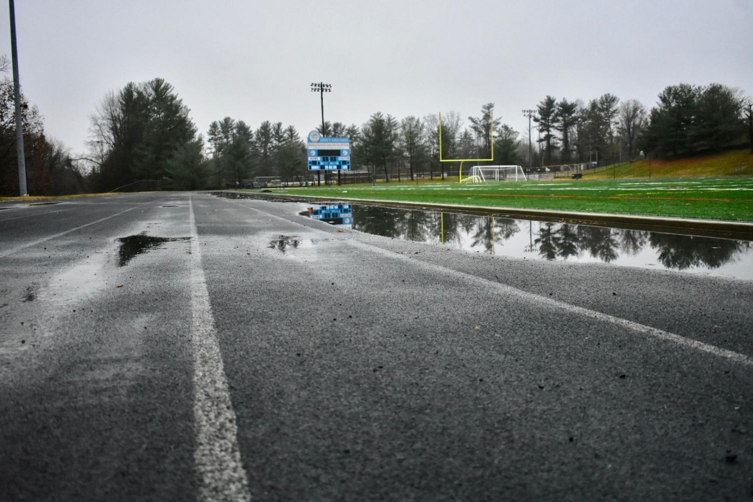 The Whitman track will be repaved this week and resurfaced over the summer. The repaving is to prevent the pooling of water on the track that has occurred since the construction of the new turf field.