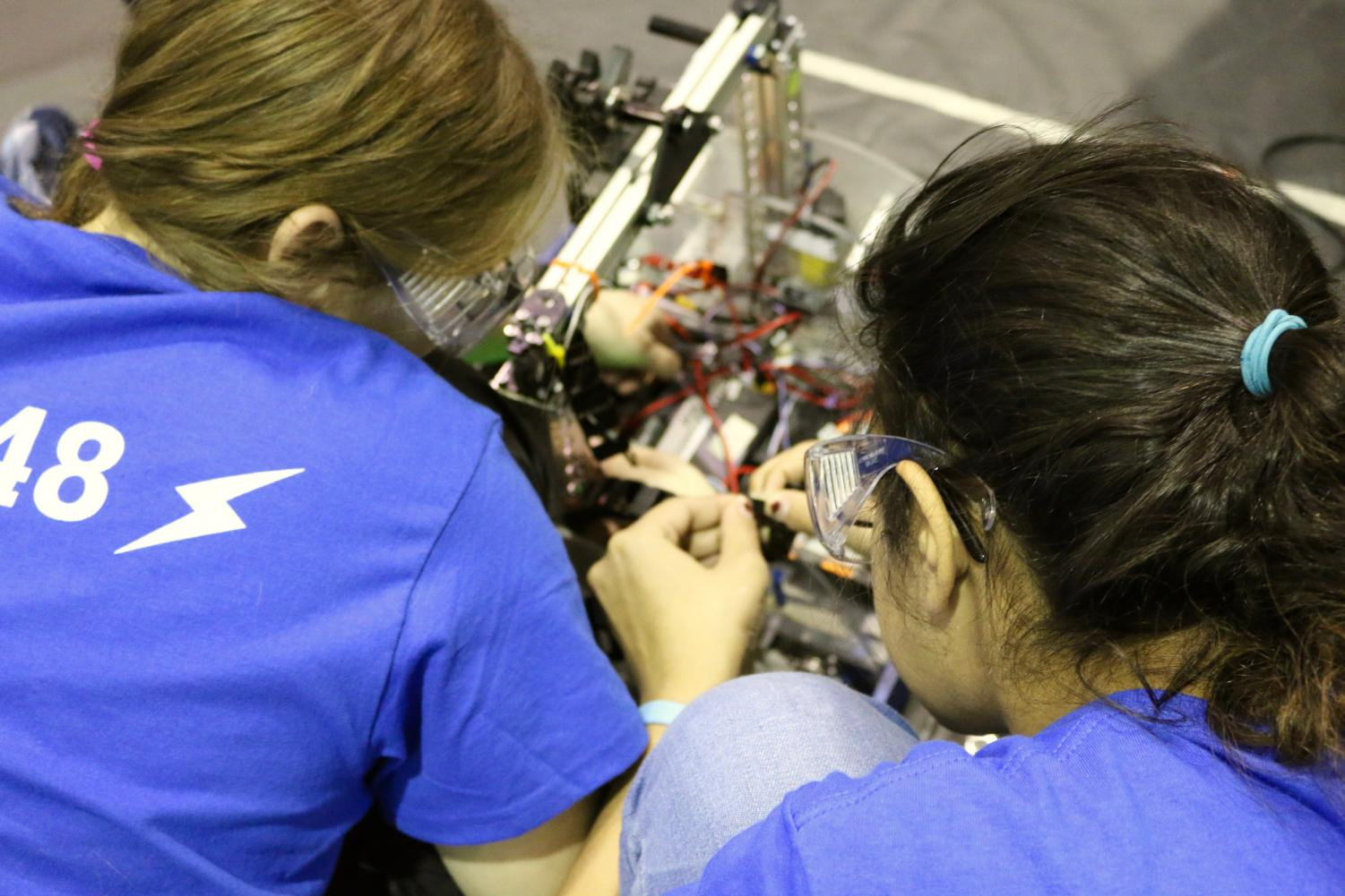 The Body Electric, Whitman's robotics team, placed 19th out of 30 teams in their first competition of the year—The First Technology Challenge—Dec. 9. The FTC competition is mostly geared toward first-year members on the team. Photo by Hirari Sato.
