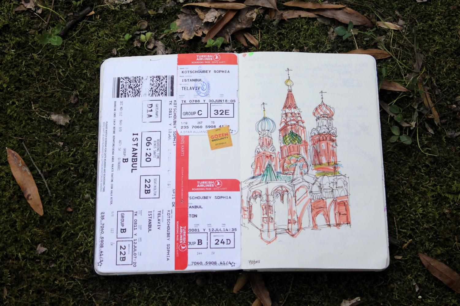Junior Sophia Kotschouby used train tickets and drawings to decorate her bullet journal. Many students have started using bullet journals as a way to organize their ideas.