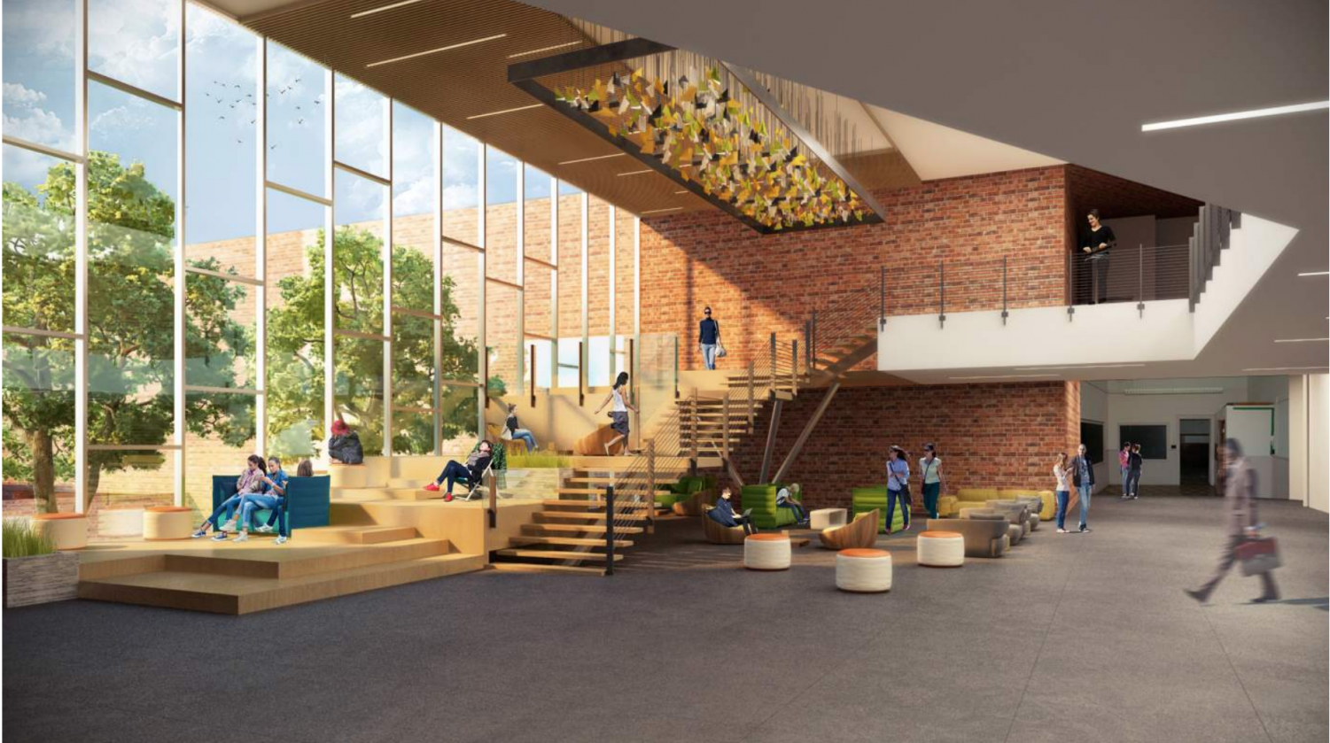 A digital rendering illustrates what the common area will look like when Whitman's renovation is completed in 2021. The completed addition will include a three-story building to replace Whittier Woods, an auxiliary gymnasium and a common area to link the main building to the new wing.