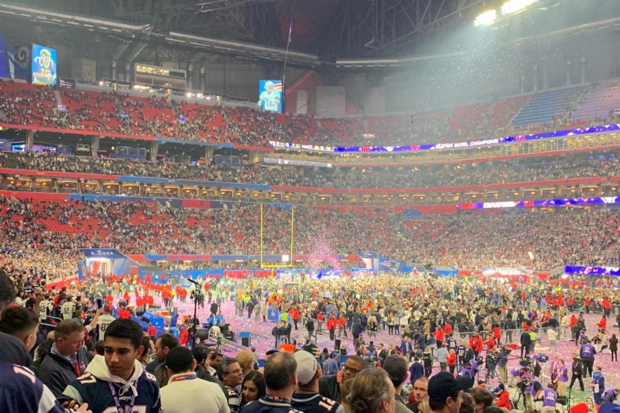 Confetti drops after New England Patriots win their sixth Super Bowl over the Los Angeles Rams. My family took a trip down to Atlanta to witness it live.