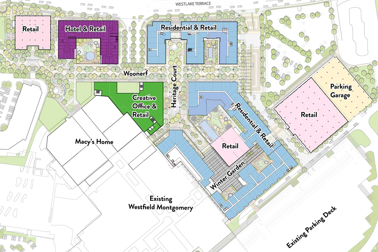 The Westfield Montgomery Mall plans to undergo major renovations in the coming years. The proposed changes include adding a 12-story apartment building, a hotel, a country club style fitness center and additional green space.