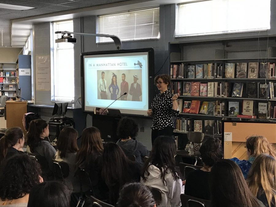 Author+Julie+Berry+speaks+to+students+about+her+new+book%2C+%22Lovely+War.%22+Whitman+club+GenerationWOW+hosted+the+event.+