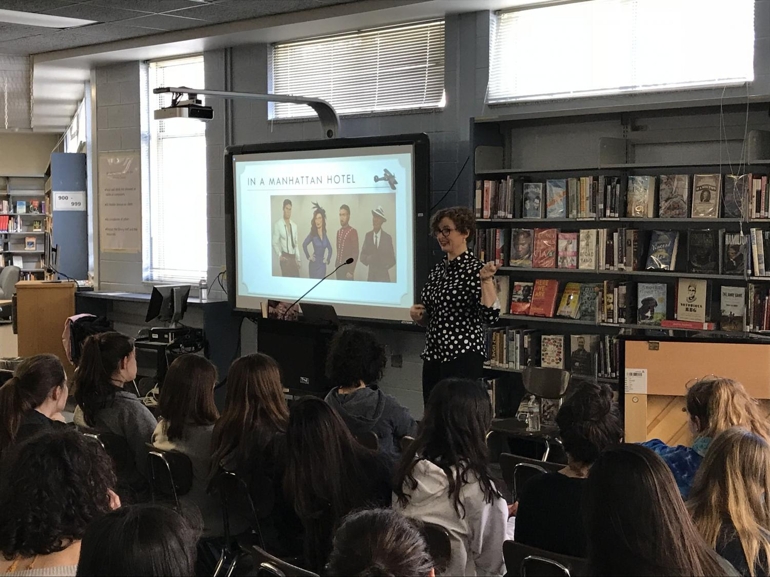 Author Julie Berry speaks to students about her new book,