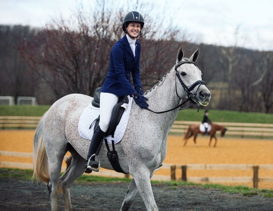 Lipping smiles after her Dressage performance at the Morven Park Spring Horse Trials in April, 2017. Morven was the first event of the spring season, and though Dressage isn't one of her horse, Maggie's, strengths, the competition went super well, she said. Photo courtesy Calli Lipping.