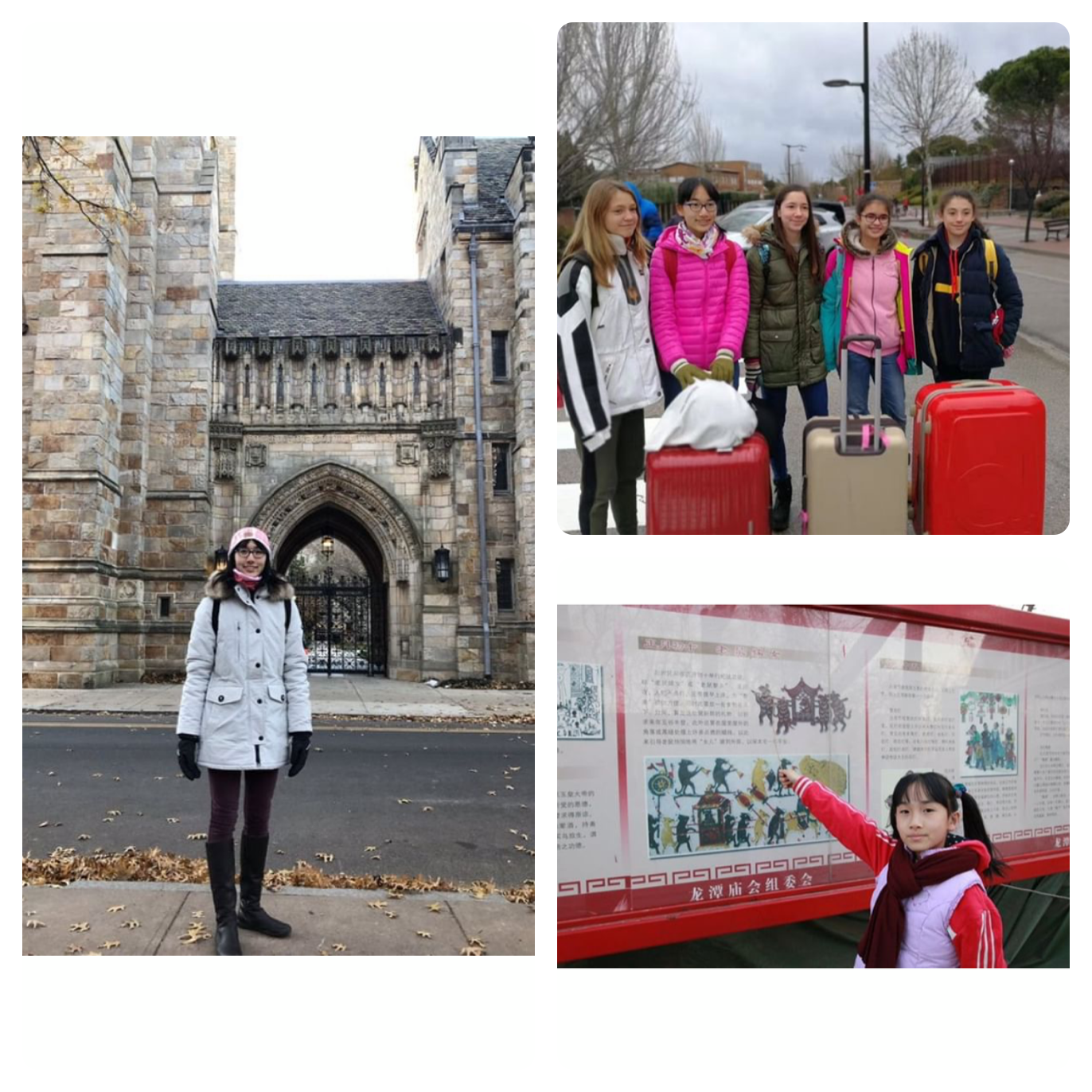Betty Zhu has lived in three countries, two continents, and different hemispheres. Zhu's dad is a diplomat. In the left photo, Zhu stands in Boston where she admires the architecture. In the top right photo, Zhu is surrounded by her friends in Spain before they go on a ski trip. On the bottom right photo, Zhu points to a sign that showcases some local history in China. Photo courtesy of Zhu.