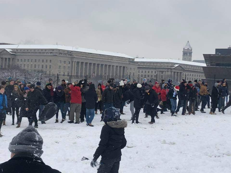 The D.C snowball fight association gathers on the Washington Mall Jan. 13 to pelt one another with snowballs. The DCSFA was founded in 2009, and people of all ages attend events.