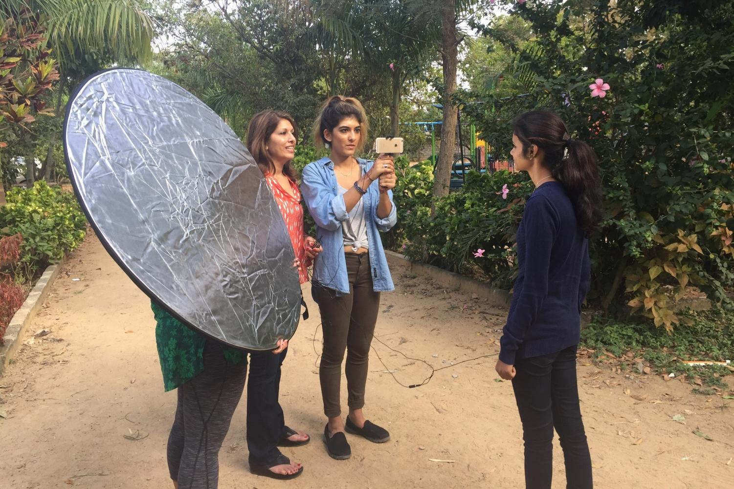 Monika Samtani ('85) and her daughter Natasha interview a student at Sahasra Deepika, an all-girls non-profit school in Bangalore, India. Monika said working with the school inspired her and Natasha
