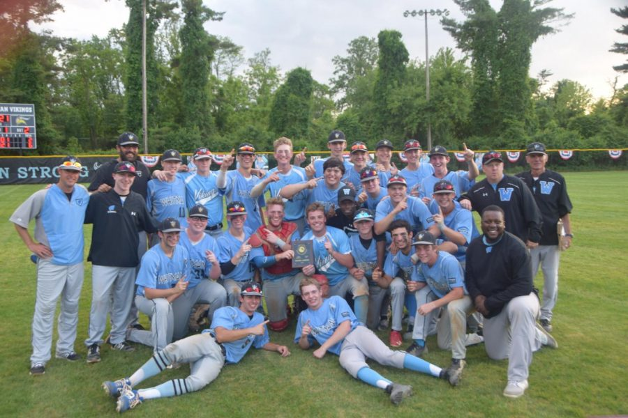 The+baseball+team+celebrates+their+6%E2%80%932+win+over+the+Clarksburg+Coyotes+to+advance+to+the+state+semi-finals+for+the+first+time+in+school+history.+Photo+courtesy+of+Joey+Sussman.+