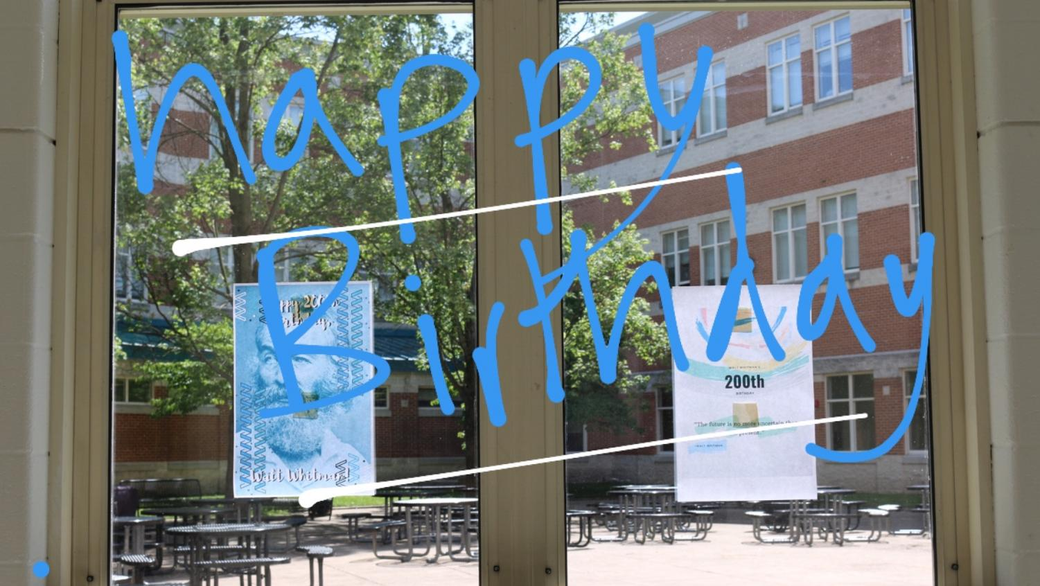 Students and staff celebrated Walt Whitman's 200th birthday today by wearing Whitman spirit gear and putting up posters. Happy birthday, Walt Whitman!