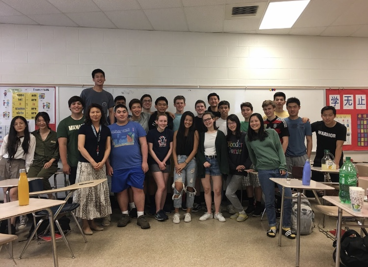 This is my Chinese class on the seniors' last day. We celebrated with large amounts of delicious Chinese food and sharing stories of the last three years all together at Whitman and the two years we spent together learning Chinese at Pyle. Photo courtesy Clara Koritz Hawkes.