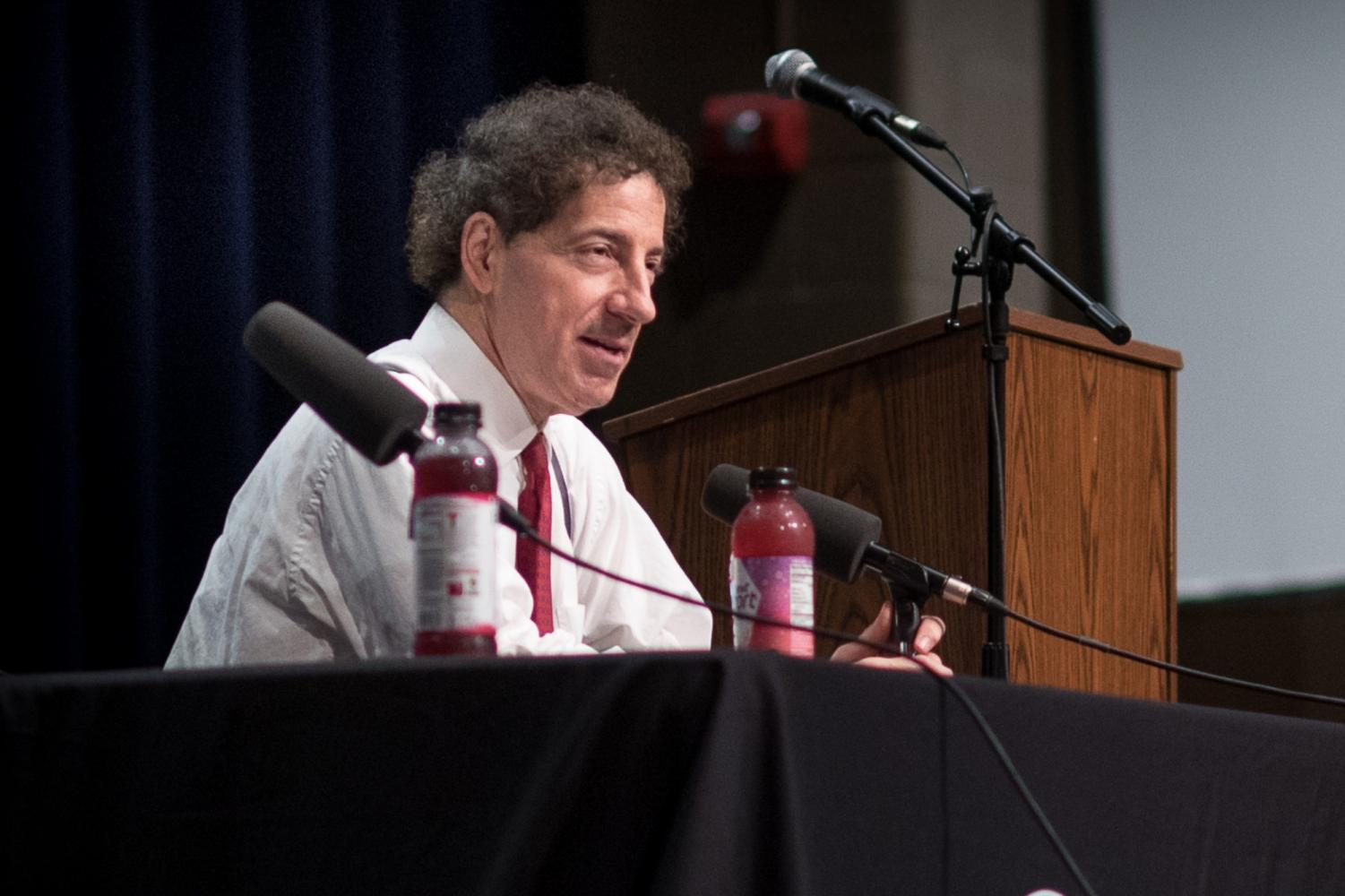 Congressman Jamie Raskin speaks to AP NSL students May 30 in the auditorium. He also held a Q&A, where he answered student questions about current events.