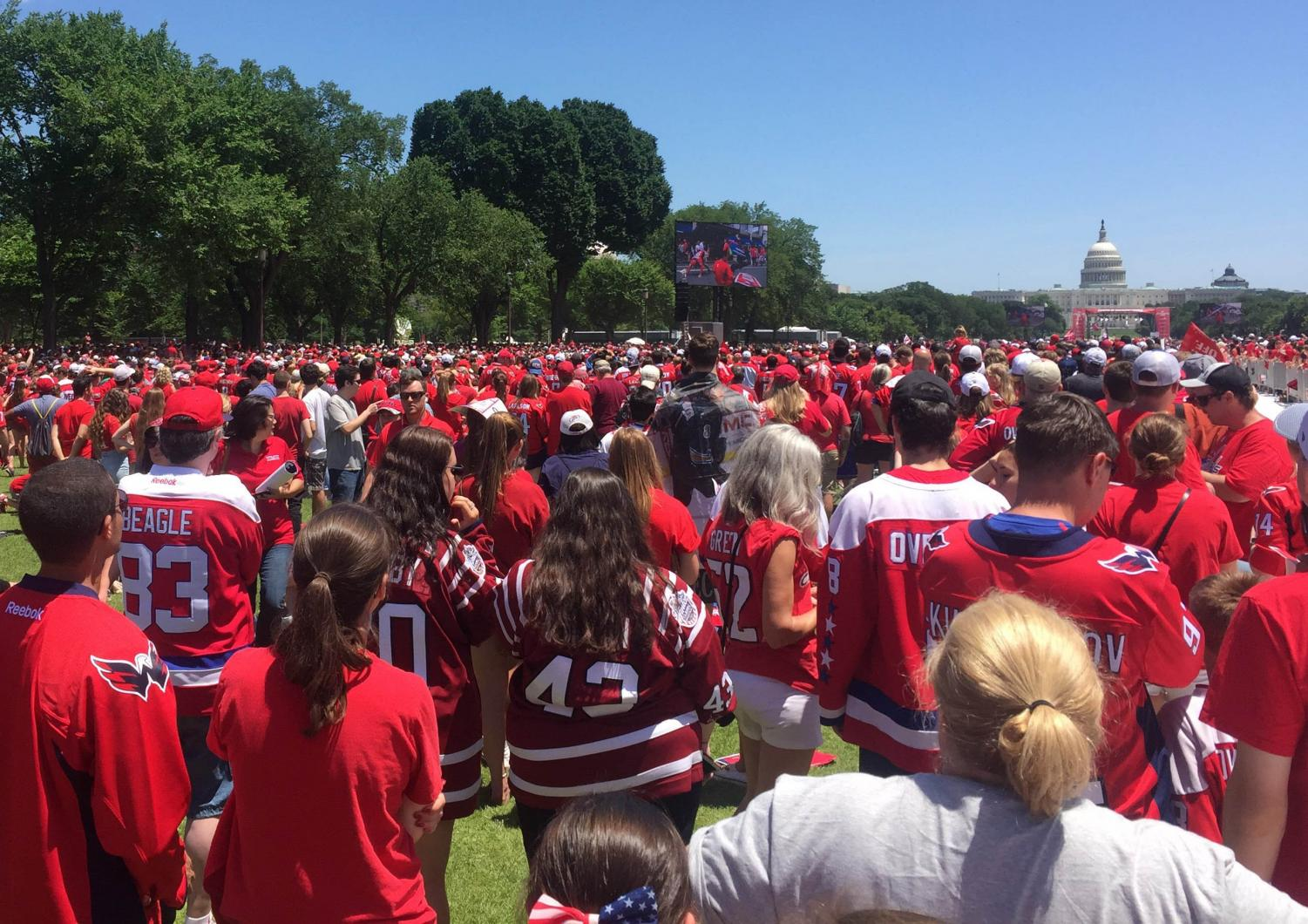 On the one-year anniversary of the Washington Capitals' Stanley Cup title, here's a Cap(s)tion. Thousands of fans celebrate their teams' victory in this Capitals capitol event. Photo courtesy Brielle Ohana.
