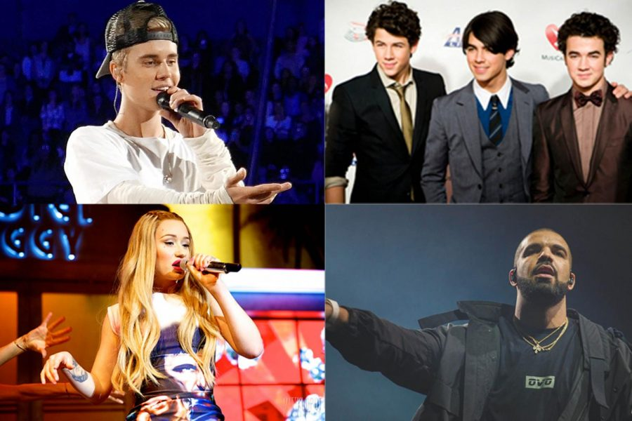 Clockwise from the top left, Justin Bieber, the Jonas Brothers, Drake and Iggy Azalea. Photos courtesy Wikimedia Commons.