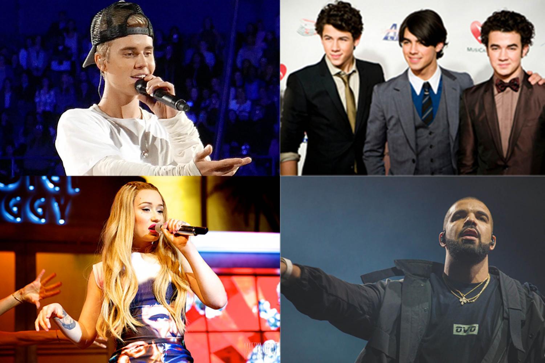 Clockwise from the top left, Justin Bieber, the Jonas Brothers, Drake and Iggy Azalea. Photos courtesy Wikimedia Commons.