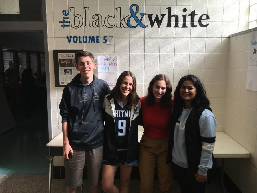 Four Black & White editors — (from left to right) Max London, Alex Robinson, Dana Herrnstadt and Aditi Gujaran — were honored by the CSPA for their individual writing. Photo by Jose Wray.