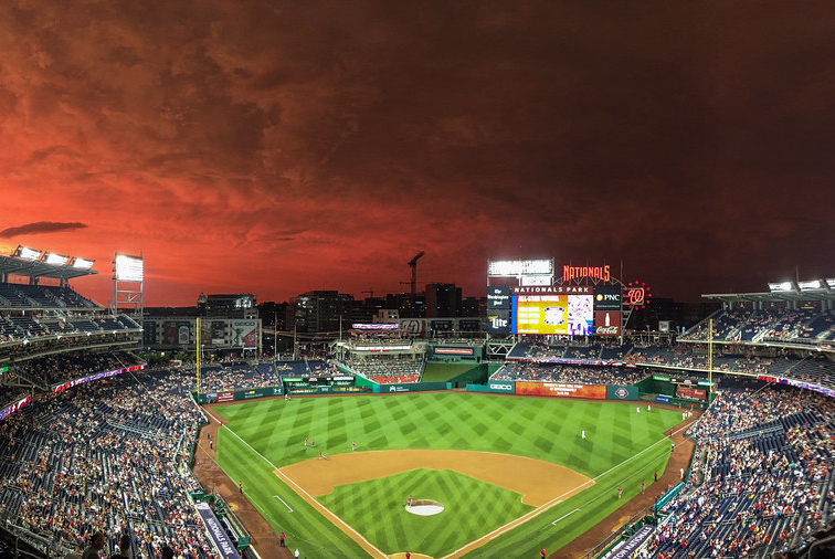 The sun sets over Nationals Park during a game. Photo courtesy Steve Lathrop.