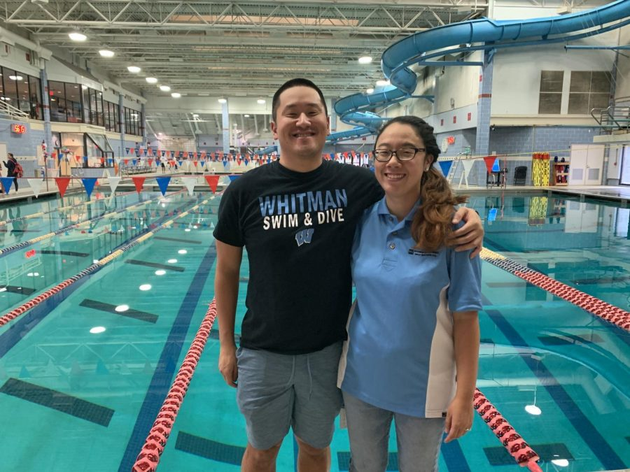 New Whitman Swim and Dive team assistant coach Mira Chung stands next to head coach Chris Schlegel after team try-outs Tuesday. This will be Chung's first year coaching for the team.