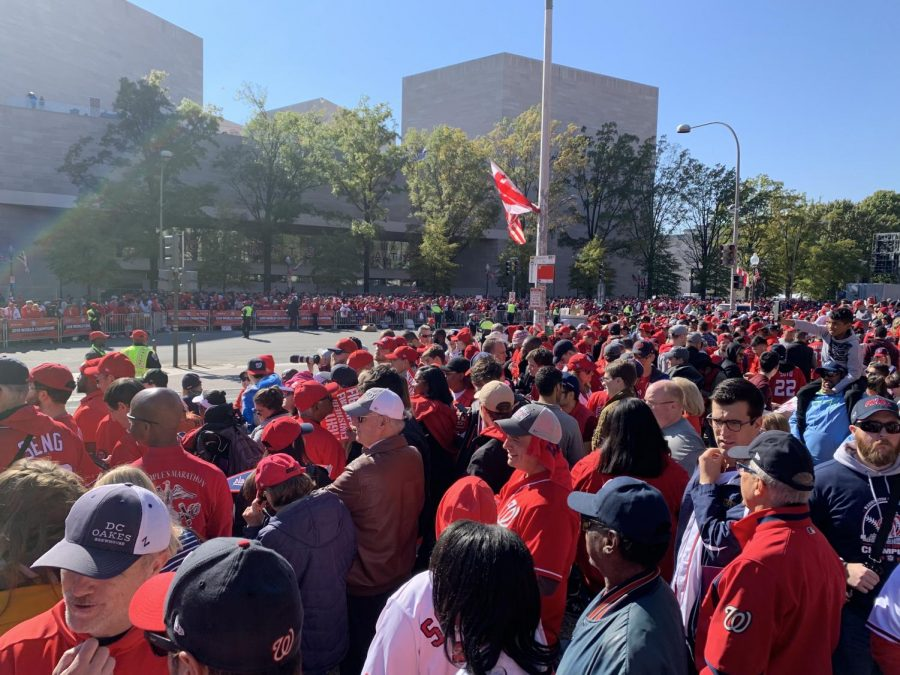 A crowd of thousands flooded the streets of D.C. Nov. 2 in celebration of the Nats World Series victory.