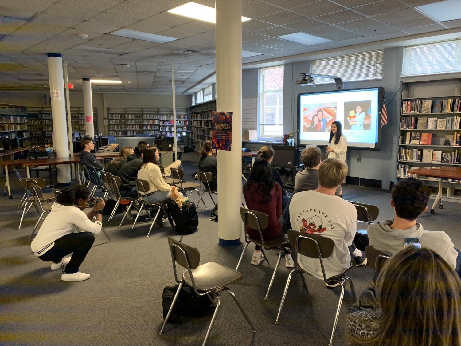 Junior Heather Wang gives her lecture on the 1.5 generation during fifth period Nov. 22.