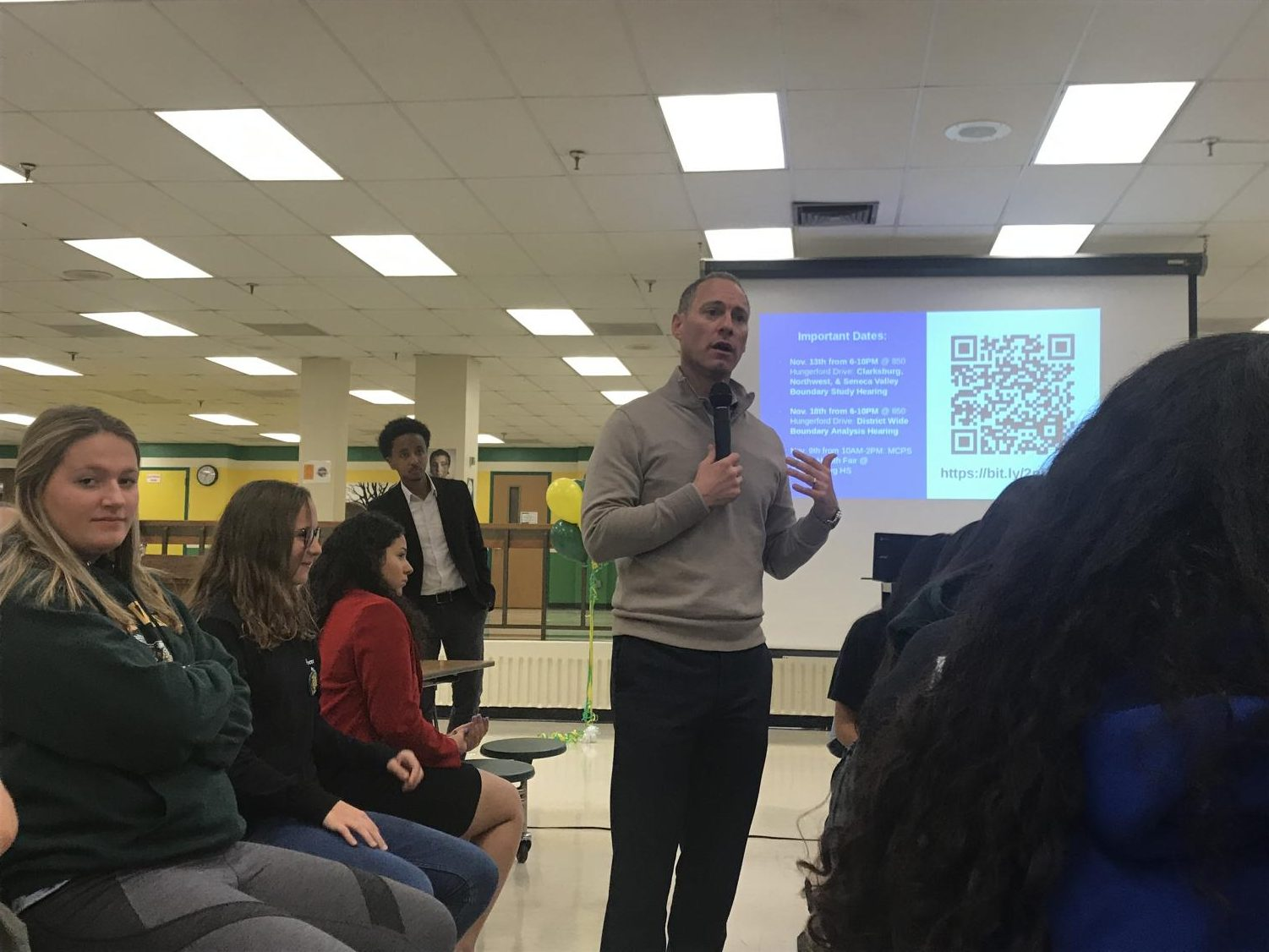 MCPS Chief Operating Officer Andrew Zuckerman speaks at SMOB Nate Tinbite's first town hall, held at Seneca Valley High School. The Q&A session with Zuckerman presented students with a platform to voice their concerns and gain first-hand knowledge on MCPS policies.