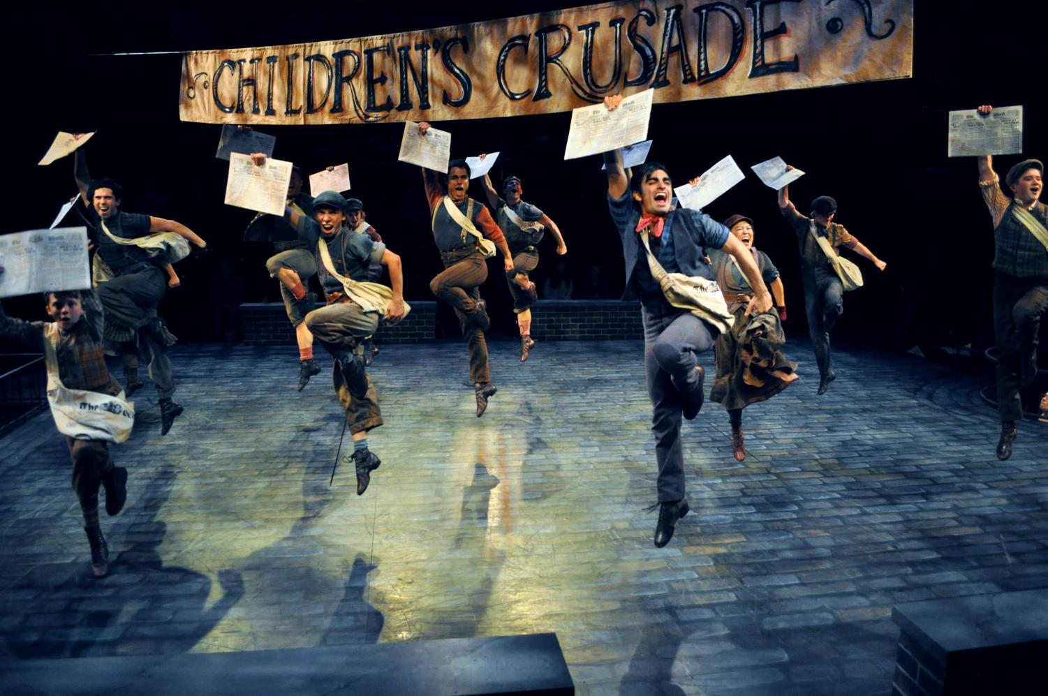 The cast of Disney's Newsies is running Nov. 1 through Dec. 29 at Arena Stage at the Mead Center for American Theater.