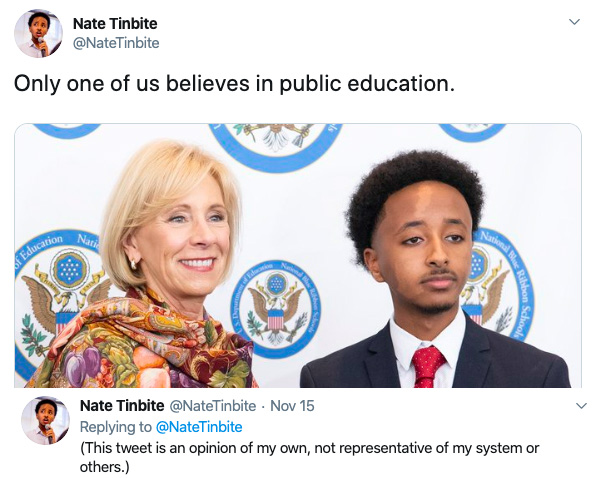 SMOB Nate Tinbite posted this on his Twitter Nov. 15. Some MCPS students feel alienated as a result of Tinbite's political posts on social media.