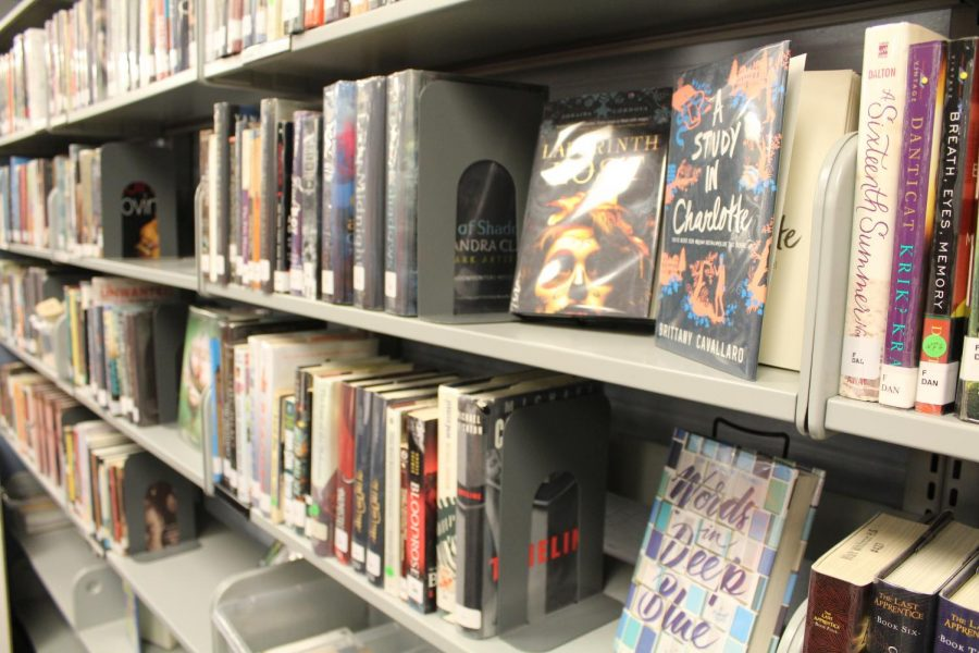 Fiction novels sit on the shelves of the media center.