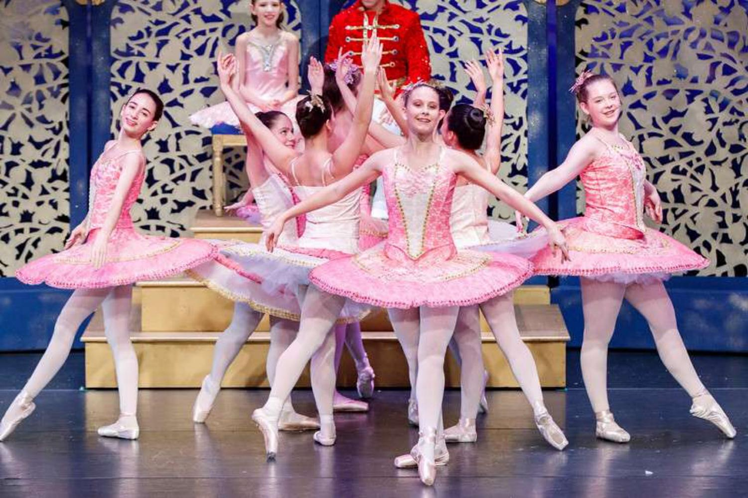 """Sophomore Rachel Chen dances in the """"Waltz of the Flowers."""" The Ovations dance studio puts on an annual production of The Nutcracker at the Greenberg Theatre."""
