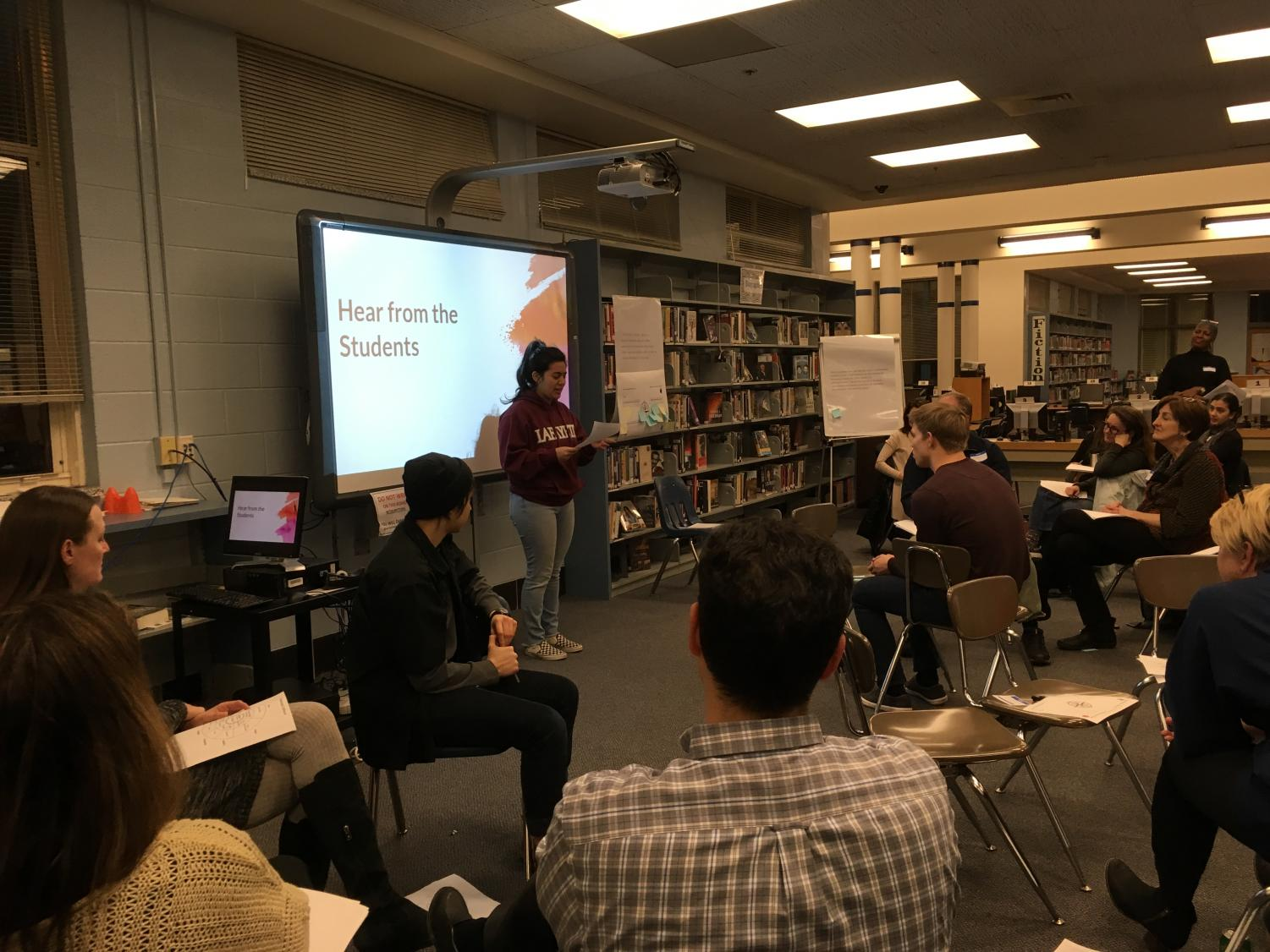 Senior Jordan Shaibani shares her testimony in front of parents at the second meeting aimed at discussing race and equity in the Whitman community.
