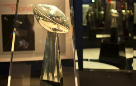 The Super Bowl trophy sits in a case. Super Bowl LIV will be February 2.