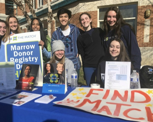 A group of Whitman students advocate for people to join the bone marrow registry at Whitman's annual Icebreaker 5k. They are trying to help find a bone marrow match for Senior Ben Lesser, who was diagnosed with Acute Myeloid Leukemia.