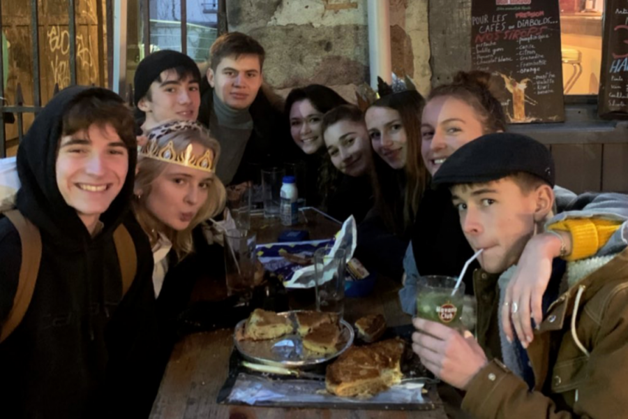 My French friends and I eating the traditional galette des rois. (left to right) Gabriel, Lolie, Peio, Ben, me (Audrey), Mélinn, Lilou, Alice, Chloé.