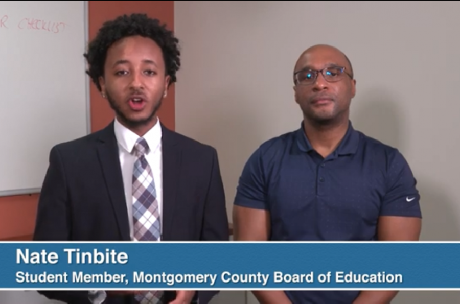 SMOB Nate Tinbite and Montgomery County Chief Health Officer Travis Gayles urged students to avoid large groups and practice social distancing.