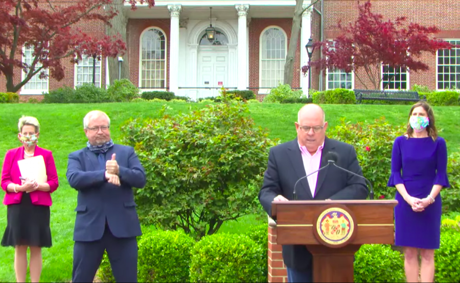 Governor+Larry+Hogan+during+his+press+conference+April+17.+Schools+will+remain+closed+through+May+15+due+to+the+COVID-19+outbreak.