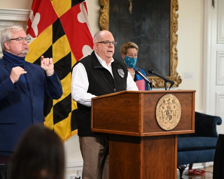 Governor Larry Hogan during his press conference earlier today. Hogan provided updates on Maryland's COVID-19 recovery program.