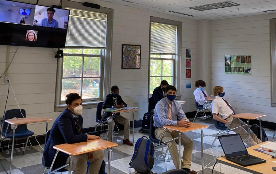 A classroom at Georgetown Preparatory School, where students may receive in-person learning. Many private schools are opening using state funds, while public schools are left completely virtual.