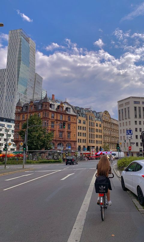 A photograph Lily Muchimba took while biking with a friend through Frankfurt, Germany.