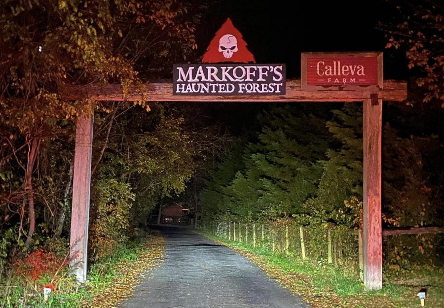 The entrance to Markoff's Haunted Forest, a popular destination for students looking for a scare.