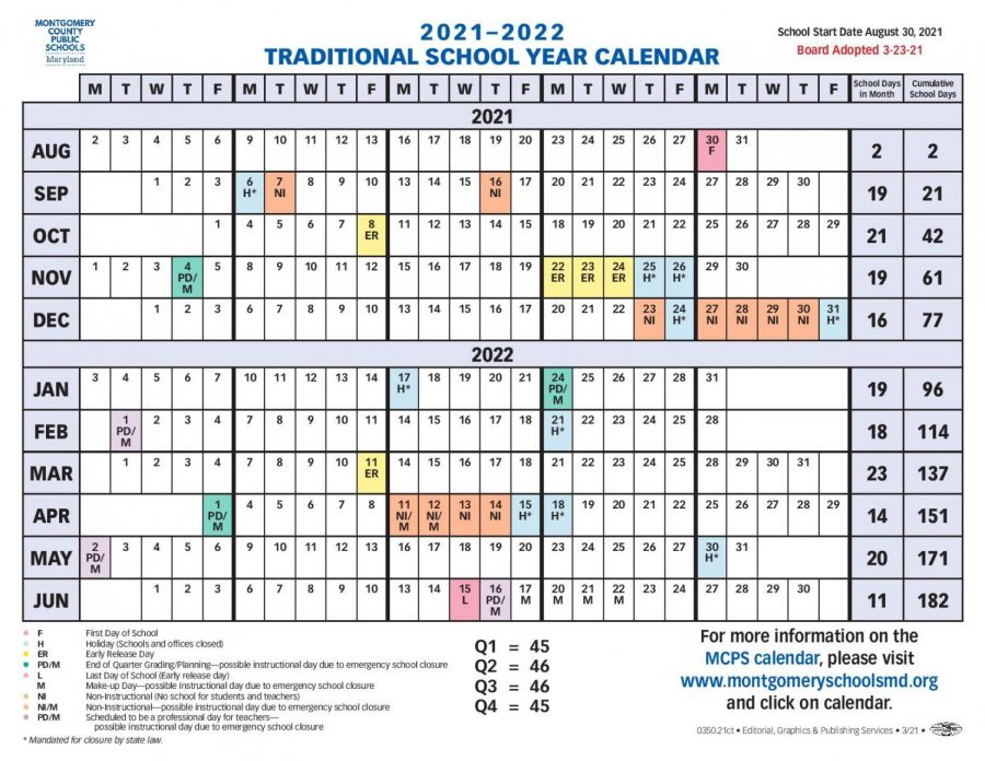 The MCPS Board of Education finalized the 2021–22 school year calendar on Tuesday. Classes will begin after Labor Day for the second consecutive year.