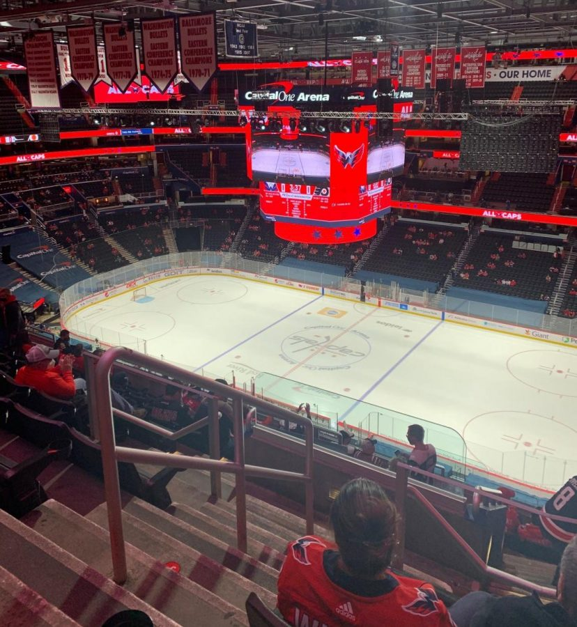 D.C. sports enthusiasts were able to step foot in Capital One Arena again after the stadium opened to fans on April 21. Each spectator sits with their own small group, isolated from others.