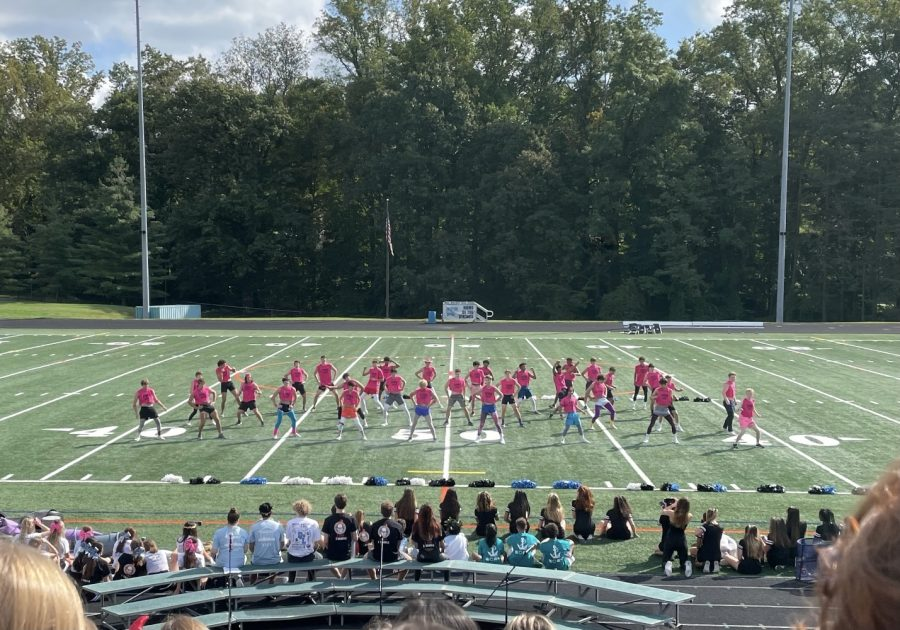 The Foms perform at the pep rally for the first time in two years.